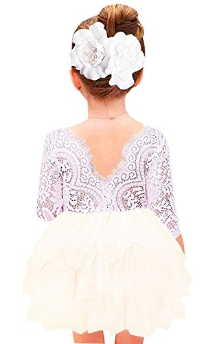 Price comparison product image 2Bunnies Girl Baby Girl Beaded Backless Lace Back Tutu Tulle Flower Girl Party Dress (Ivory 3/4 Sleeve Short, 7-8YRS)