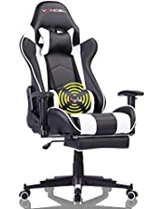 Gaming Chair Home Office Desk Chair Computer Racing Chair Ergonomic PU Leather High Back with Headrest,Lumbar Support & Retractable Footrest