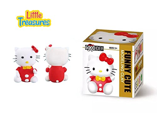 Little Treasures Kitty Clay Modeling and Sculpting DIY Play-Set - Create Your 3D Cat Theme Favorite Cartoon Characters with Molding Play-Dough Kit Little Kitty