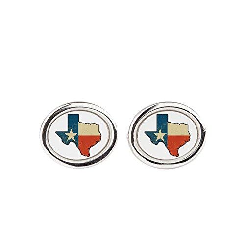 Royal Lion Cufflinks (Oval) Texas Flag Texas Shaped