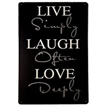 Live Simple,Laugh Often,Love Deeply, Vintage Tin Sign, Wall Decor Sign 8x12inch