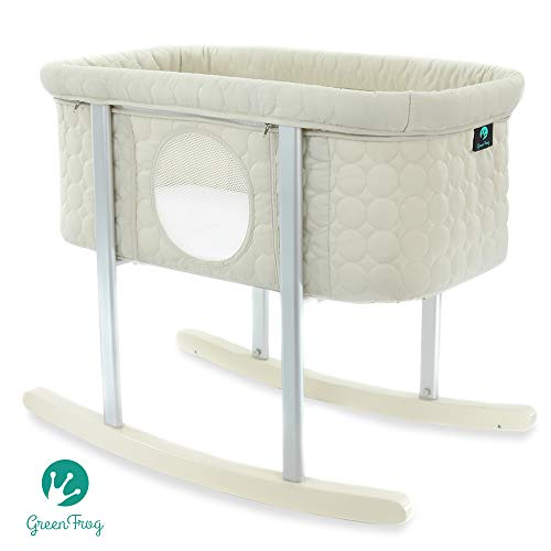 Quilted Frog (Baby Bassinet Cradle Includes Gentle Rocking Feature, Great for Newborns and Infants Safe Mattress Includes Wheels for Easy Movement High End Washable Fabric Lightweight & Transportable (Off White))