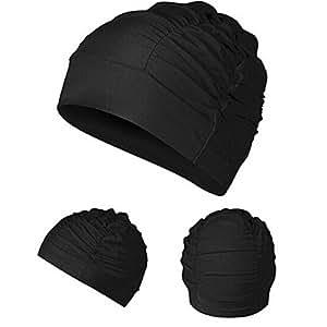 Generic gorra gorro de natación hombre adultos para mujer gorro de baño de turbante bonito sombrero negro