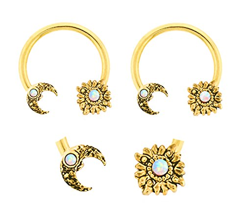 Pair of Gold White synthetic opal Moon & Sun Celestial gold plated Horseshoe Ring lip, belly, nipple, septum, earring hoop 14g