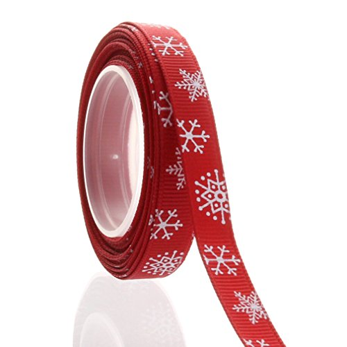Red Snowflake Patter 3/8 Inch Christmas Ribbon