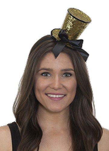 Shiny Glitter Gold Top Hat Headband w/ Black (Las Vegas Showgirl Outfits)