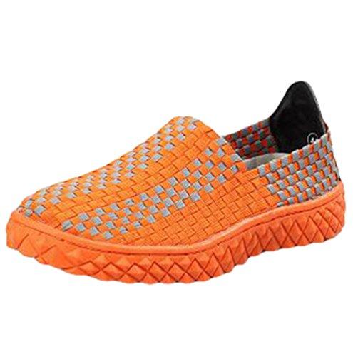 Anguang Unisex Tejido Respirable Casual Zapatos Comodidad Elástico Ponerse Entrenadores Suave Zapatos Naranja
