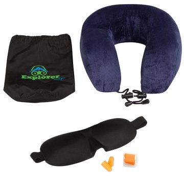 Explorer Travel Gear Sleep Set - Premium Neck Pillow with Contoured Memory Foam & Memory Foam Sleep Mask with Premium Velcro Closures & Largest Adjustable Size Range, Bonus Earplugs & Storage Bags
