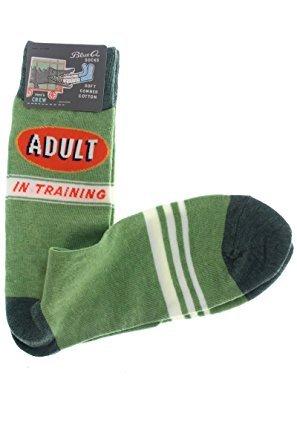 - Blue Q Socks, Men's Crew, Adult In Training,Men's Shoe Size 7-12