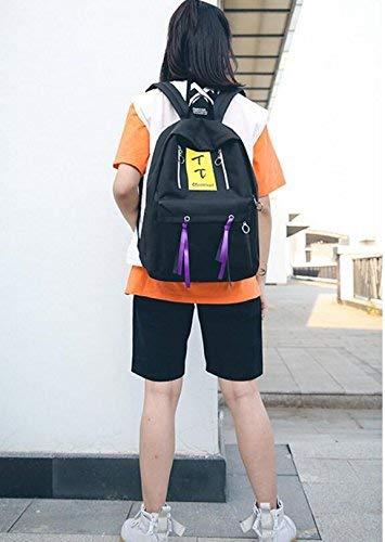 jaune  SEBAS Home Personnalité Sacs à Dos Creative Double Zipper Lettre Tassel Schoolsac Personnalité Loisirs Sac à Dos (Couleur   rouge)