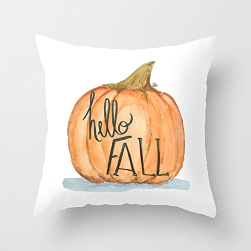 UOOPOO Hello Fall Pumpkin Home Decorative Halloween Throw Pillow Cover Square 20 x 20 Inches Cotton Canvas Wedding Pillow Case Happy Fall Cushion Cover for Sofa One Side