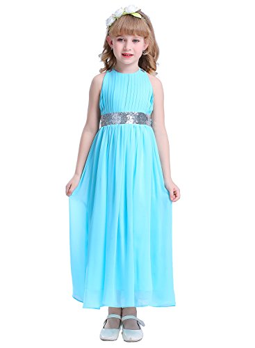 Happy Rose Bling Bling Sequins Chiffon Girls Dress Aqua Blue Size 12
