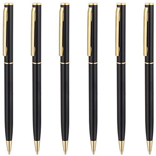 Unibene Slim Metallic Retractable Ballpoint Pens - Matte Black & Gold, Nice Gift for Business Office Students Teachers Wedding Christmas, Medium Point(1 mm) 6 Pack-Black ink ()