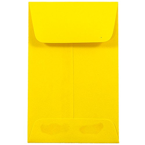 JAM PAPER #1 Coin Business Colored Envelopes - 2 1/4 x 3 1/2 - Yellow Recycled - 50/Pack