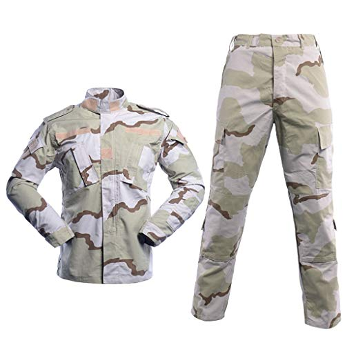 Men's Tactical Jacket and Pants Military Camo Hunting ACU Uniform 2PC Set ()
