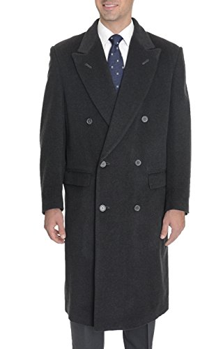 Mens Charcoal Grey Cashmere Double Breasted Full Length Over Coat Top Coat Italy
