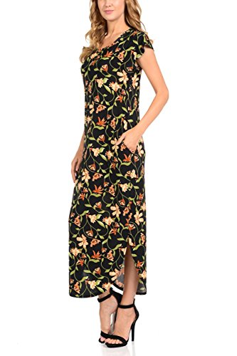 bluensquare Gleaf Neck Beach Long Dresses with Pockets Round Maxi Dress for Women 7qrp6w7T