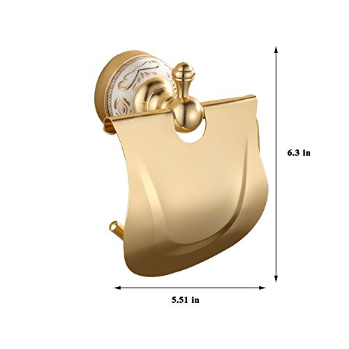 Ibnotuiy European Antique Space Aluminum Wall Mounted Toilet Paper Holder Luxury Ceramic Bathroom Waterproof Tissue Holders Gold by Ibnotuiy (Image #1)