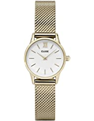 Cluse Womens La Vedette 24mm Gold-Tone Steel Bracelet Metal Case Quartz White Dial Analog Watch CL50007