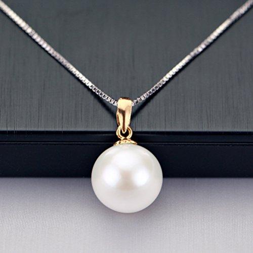 erimaki 18K Or jaune perle de culture d'eau douce ronde Pendentif avec chaîne en argent sterling 925, 45,7cm