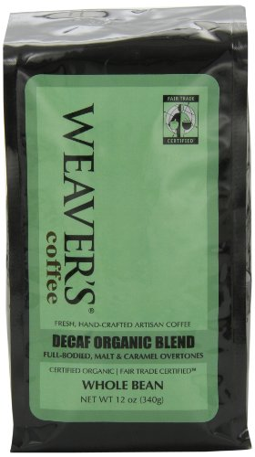 Weaver's Coffee and Tea, Decaf Organic Blend Whole Bean Coffee, 12-Ounce Bags (Pack of 2)