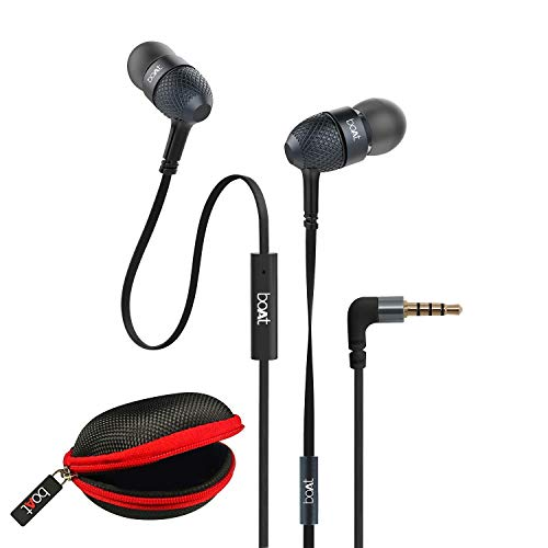 boAt BassHeads 228 Extraa Bass with Pouch in Ear Wired Earphones with Mic (Black)