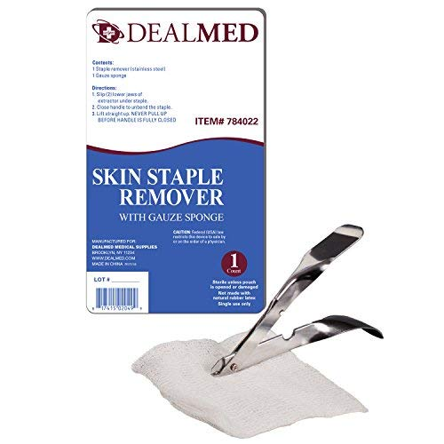 Dealmed Sterile Staple Removal Kit with Staple Remover and Gauze Sponge, Single-Use, 10 Kits ()