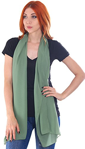 Simplicity Women's Classic Solid Colored Lightweight Scarf, Green