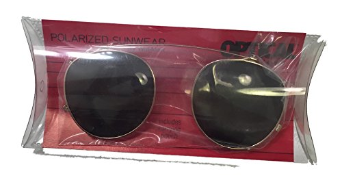 Polarizes Sunwear - Clip on Round Gold size - Walmart On Clip Sunglasses