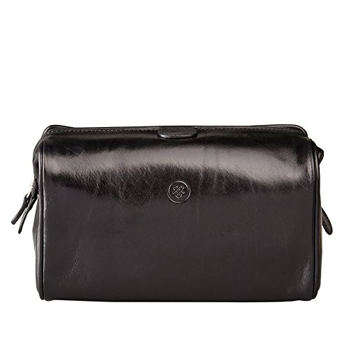 Maxwell Scott Personalized Luxury Black Leather Toilet Bag (The DunoM) - Medium by Maxwell Scott Bags