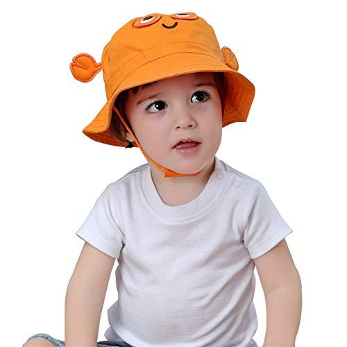 TANGDA Baby Toddler Fisherman Bucket Hat Crab Pattern Sunhat With Chin Strap, Orange, Size 1-2YRS