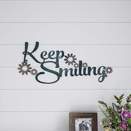Lavish Home Metal Cutout-Keep Smiling Wall Sign-3D Word Art Home Accent Decor-Perfect for Modern Rustic or Vintage Farmhouse Style (For Words Art Wall)