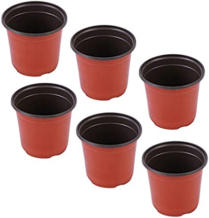 2PCS Plastic Planting Flower Pots with Drainage Nursery Pot Tomatoes Potatoes Seedlings Container Seed Starting Pots Indoor Outdoor Black