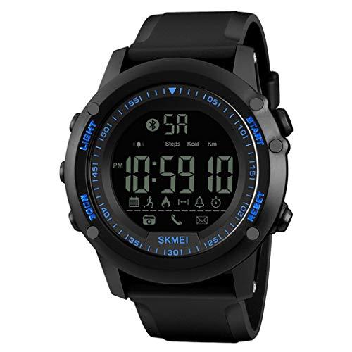 (Smart Watch for Kids Men Women,SKMEI Mens All Black Military Style Smart Watch Functions Activity Tracker 50ATM,Outsta Stylish Smart Watch (Blue))