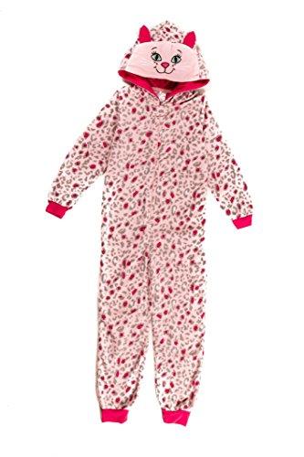 Girl's Dots & Dreams Pink Cat Onesie Kigurumi Animal Pyjamas (6) (Halloween Cat Whiskers)