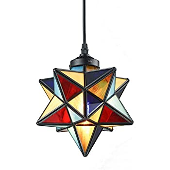 yobo lighting moravian star tiffany style glass pendant light chandelier 8in