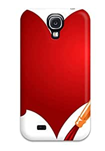 Durable Protector Case Cover With Red Color Heart Splash Brush Painting Hot Design For Galaxy S4