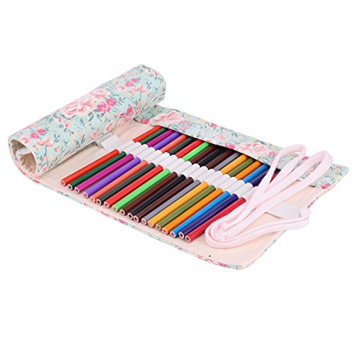 Molshine Handmade Canvas Flowers Style Colored Pencils Wrap3