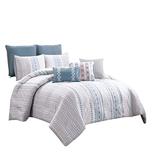 Chezmoi Collection Tribeca 8-Piece Modern Geometric Stripe Printed Textured Chenille Embroidered Comforter Set, King Size