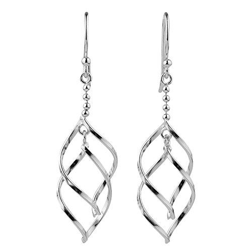Sterling Silver Double Twist Elongated Leaf Beaded Drop Dangle Earrings (Twist Drop Leaf)