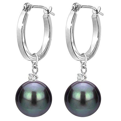 14k Gold 1/10cttw Diamond 8-8.5mm Black Freshwater Cultured Pearl Dangle Earrings for Women Jewelry Drop Pearl Diamond Pendant