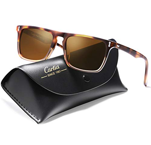 - Carfia Vintage Polarized Sunglasses for Men, 100% UV400 Protection Acetate Frame (A: Gradient Frame Brown Lens, Multicoloured)