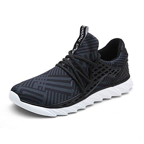[Sikaini] スニーカー 運動靴 スポーツ ランニング ジョギング メンズ 超軽量 ウォーキング ローカット おしゃれ (ブラック グリーン グレイ 24.5~27cm)