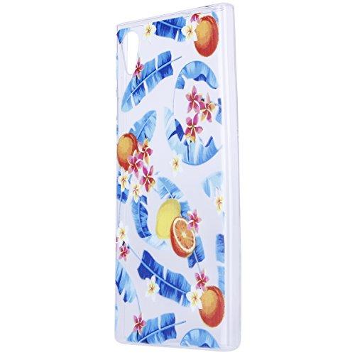 Funda Sony XA1,SainCat Moda Alta Calidad suave de TPU Silicona Suave Funda Carcasa Parachoques Diseño pintado Patrón para Funda TPU Silicona Flexible Ultra Delgado Ligero Goma Case Cover Caja Suave Ge Hojas de plátano de limón
