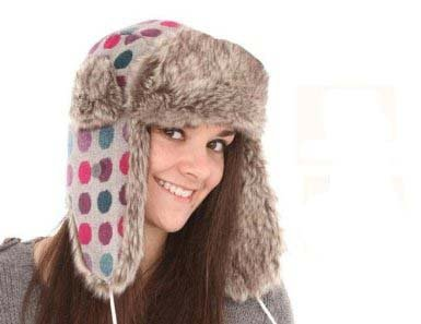dd66a1ed835 Image Unavailable. Image not available for. Colour  i-Smalls Ladies Spotty  Fur Trim Trapper Hat ...