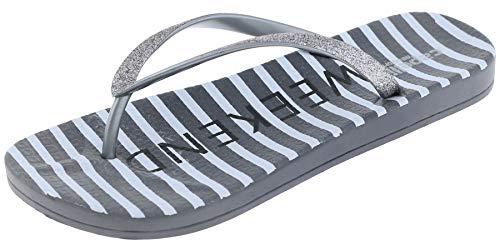 Capelli New York Weekend Mode Printed Ladies Flip Flop Pewter Grey 9 ()