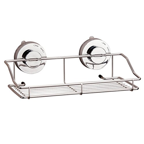 Suction Cups Rack, LHome Stainless Steel Bathroom Rack Suckers Storage Basket Hook, Kitchen and Bathroom Wall Plate Rectangular Basket