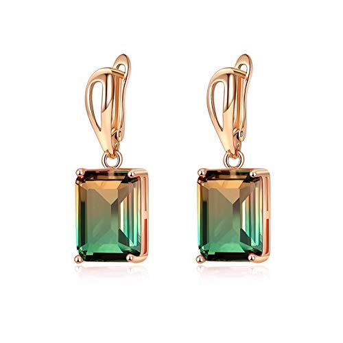 Colors Earrings Women Wedding Jewelry Rose 585 Hollow Gold Multicolor Zircon Natural Earrings 2019 ()