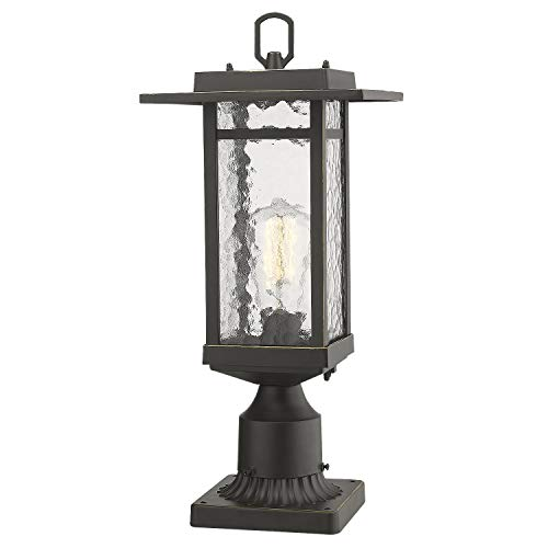 Outdoor Post Light, Beionxii 1-Light Exterior Post Lantern in Oil Rubbed Bronze Finish with Water Ripple Glass Shade, Includes Post Base
