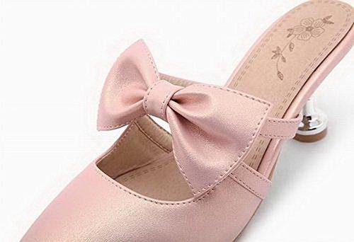 Appartamenti Luccichio Tacco Shoes Chiusa Medio CCALLP013009 Tirare VogueZone009 Donna Rosa Punta Rw4qq0f